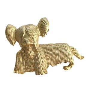 Vintage Lhasa Apso Dog Brooch Gold Tone Pin